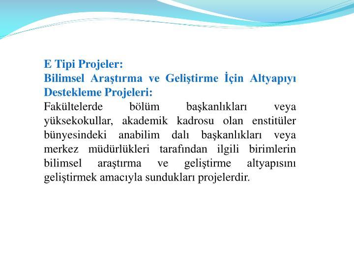 E Tipi Projeler: