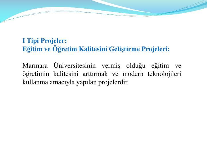 I Tipi Projeler: