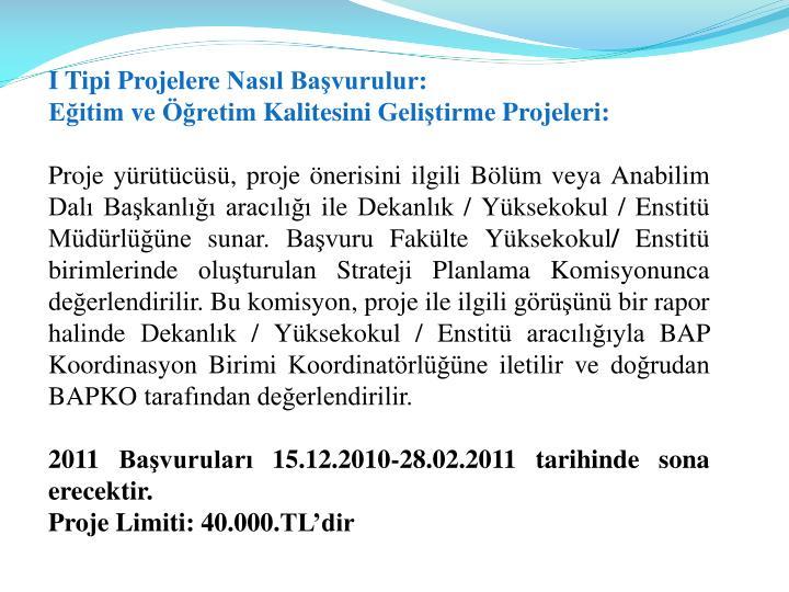 I Tipi Projelere Nasıl Başvurulur: