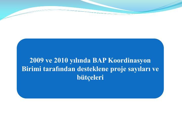 2009 ve 2010 yılında BAP Koordinasyon Birimi tarafından desteklene proje sayıları ve bütçeleri