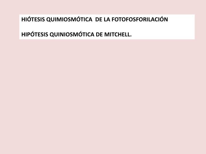 HIÓTESIS QUIMIOSMÓTICA  DE LA FOTOFOSFORILACIÓN