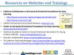 resources on websites and trainings