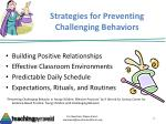 strategies for preventing challenging behaviors