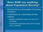 does sum say anything about population density