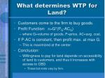 what determines wtp for land
