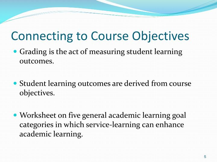 Connecting to Course Objectives