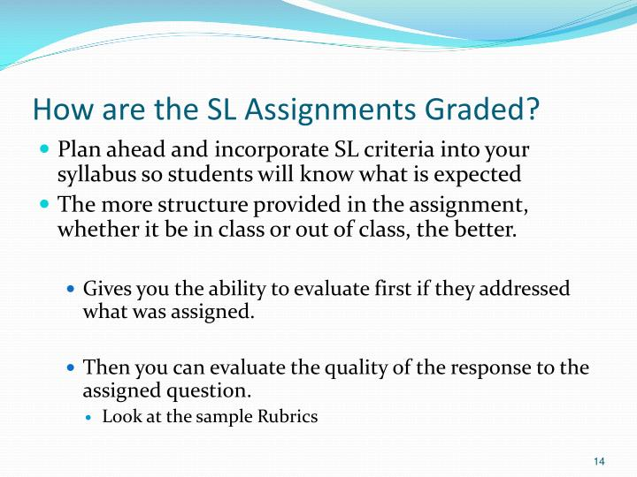 How are the SL Assignments Graded?