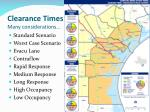clearance times many considerations