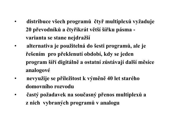 distribuce všech programů  čtyř multiplexů vyžaduje