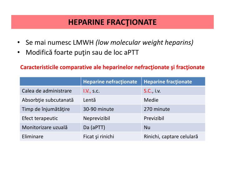 HEPARINE FRACŢIONATE
