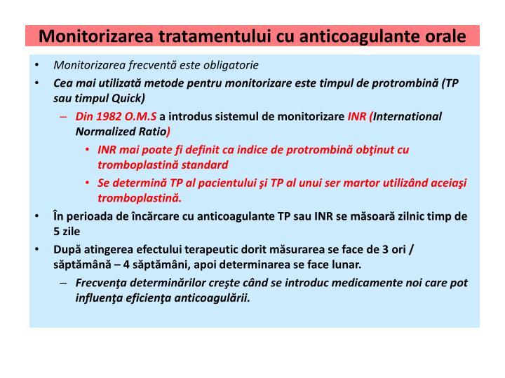 Monitorizarea tratamentului cu anticoagulante orale