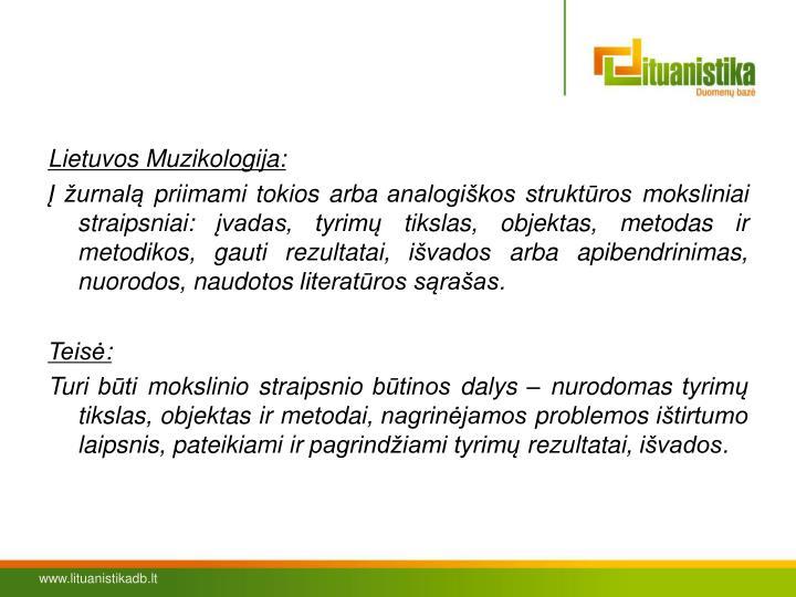 Lietuvos Muzikologija: