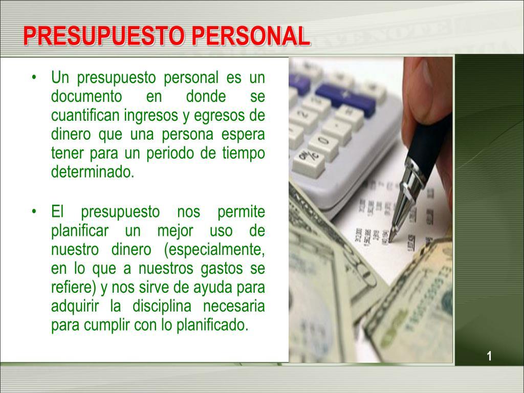 ppt presupuesto personal powerpoint presentation id 4832961