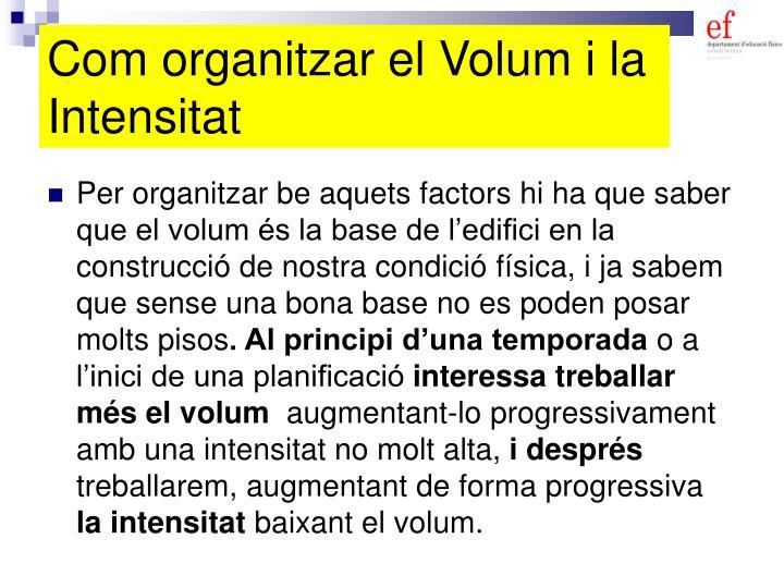 Com organitzar el Volum i la Intensitat