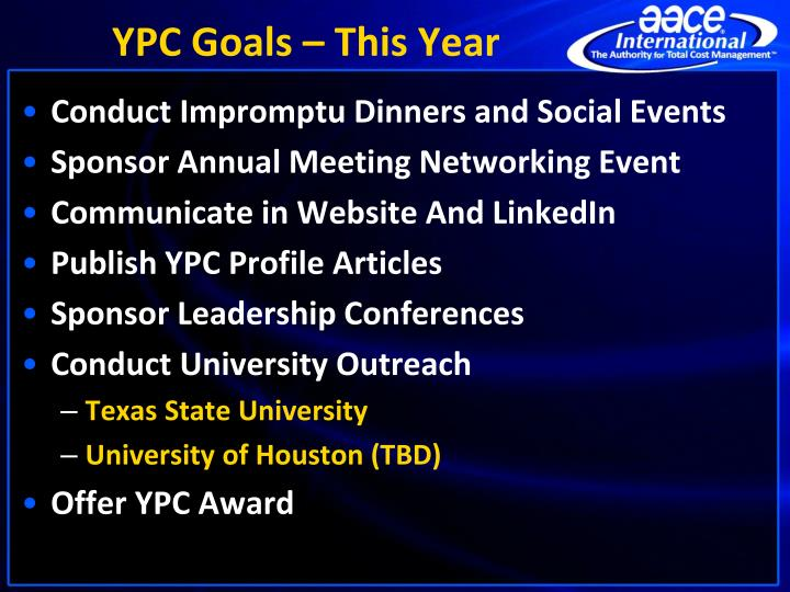 YPC Goals – This Year