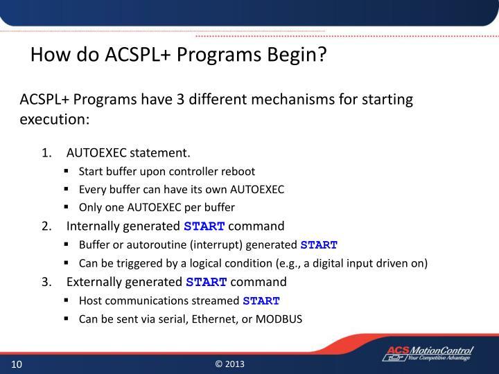 How do ACSPL+ Programs