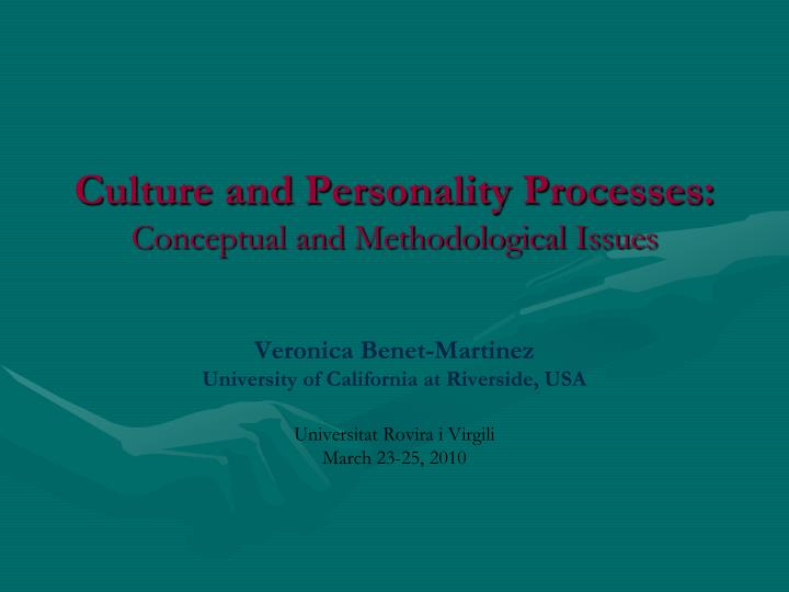 culture and personality processes conceptual and methodological issues n.