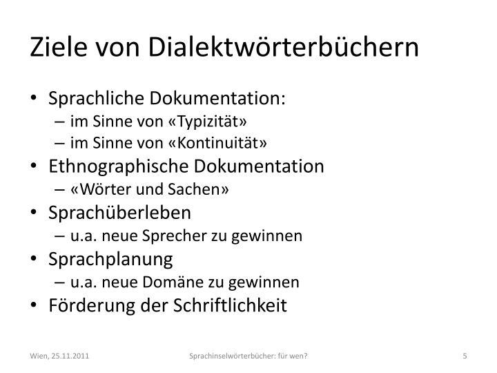 Ziele von Dialektwörterbüchern