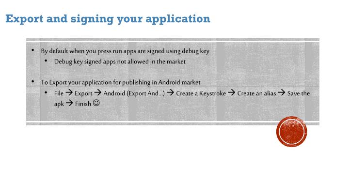 Export and signing your application