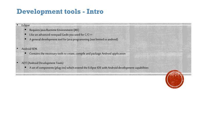 Development tools - Intro