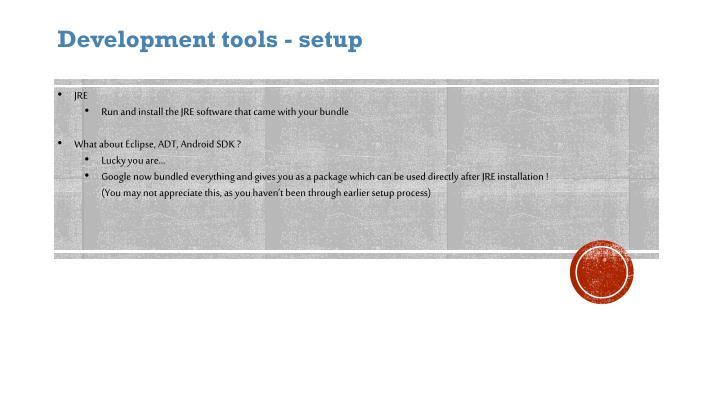 Development tools - setup