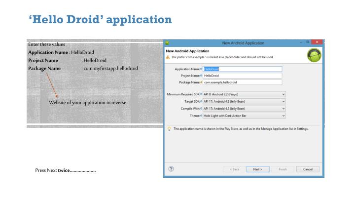 'Hello Droid' application