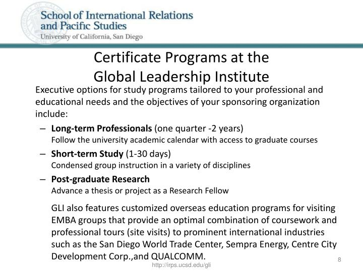 Certificate Programs at the