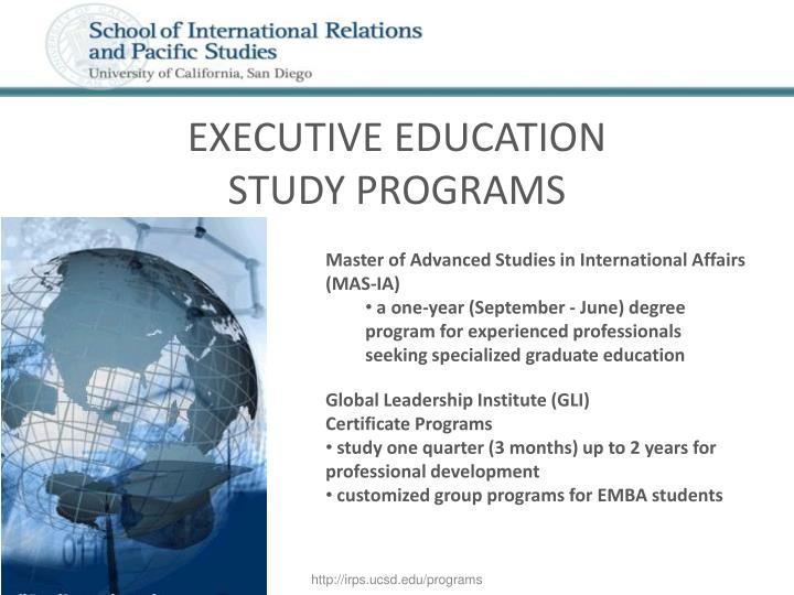 Executive education study programs
