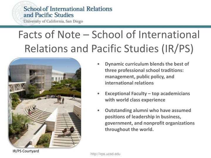 Facts of Note – School of International Relations and Pacific Studies (IR/PS)