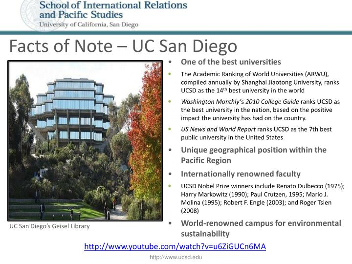 Facts of Note – UC San Diego