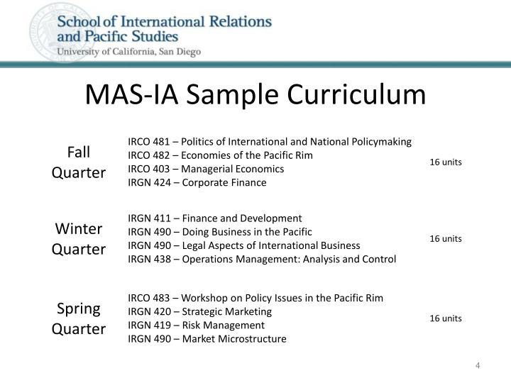 MAS-IA Sample Curriculum