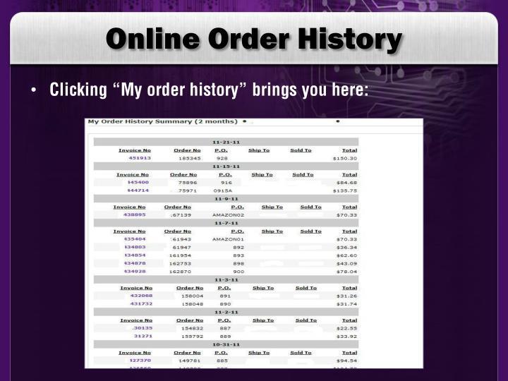 Online Order History