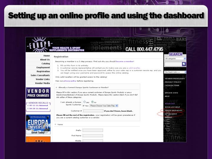 Setting up an online profile and using the dashboard