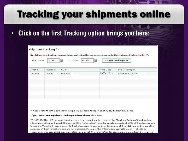 Tracking your shipments online