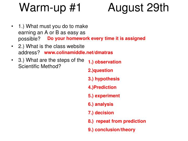 warm up 1 august 29th