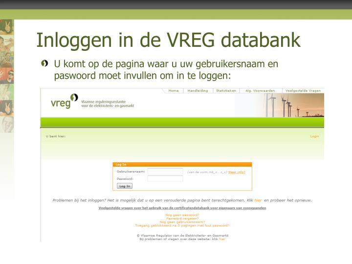 Inloggen in de vreg databank2