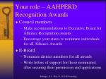 your role aahperd recognition awards