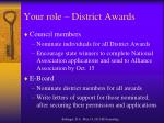 your role district awards