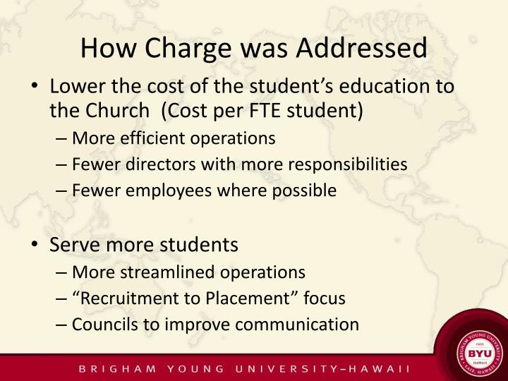 How Charge was Addressed