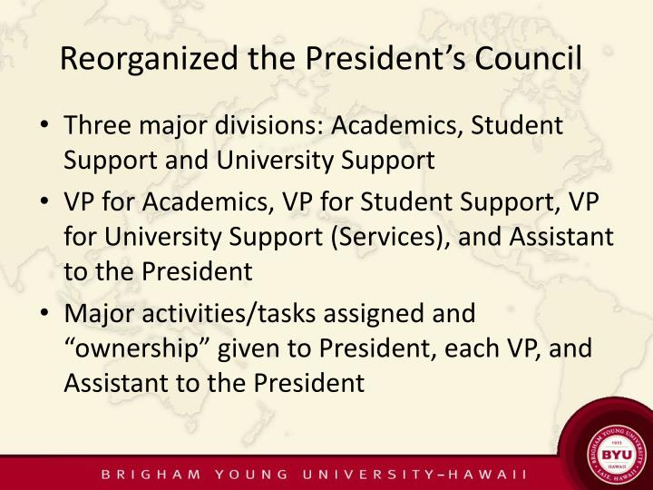 Reorganized the President's Council