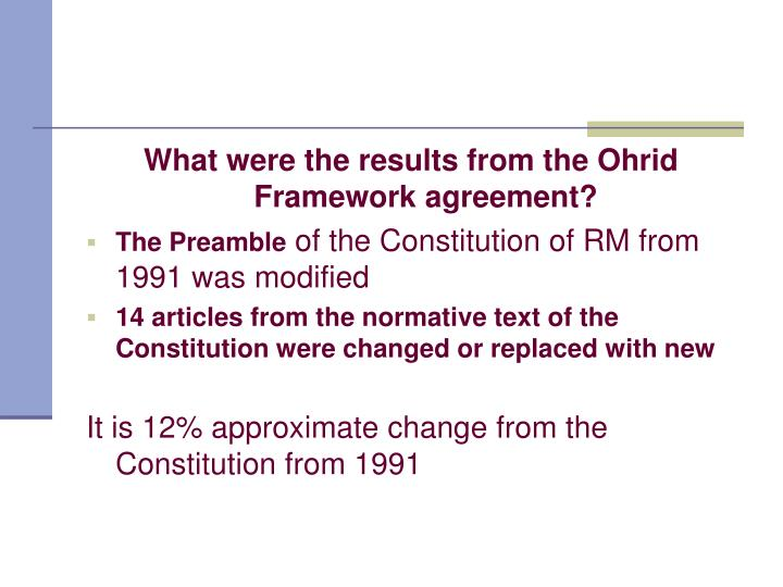 What were the results from the Ohrid Framework agreement?