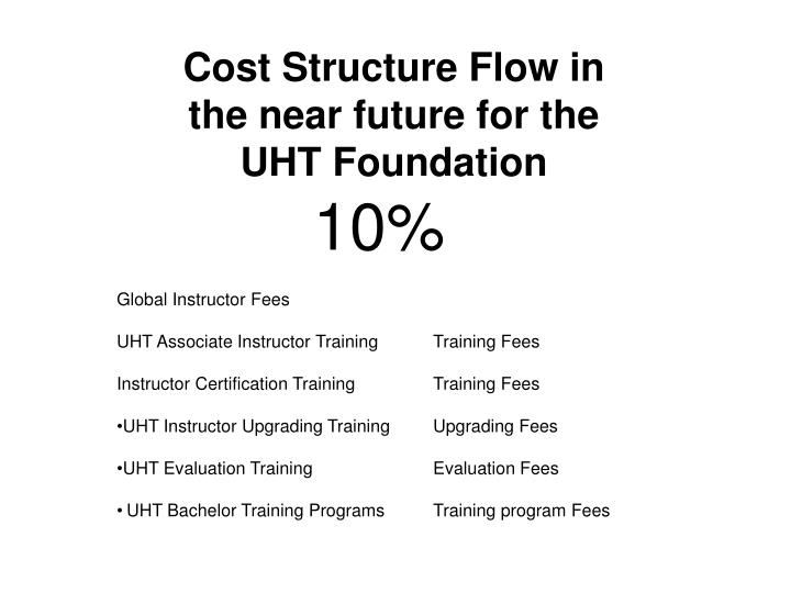 Cost Structure Flow in the near future for the UHT Foundation