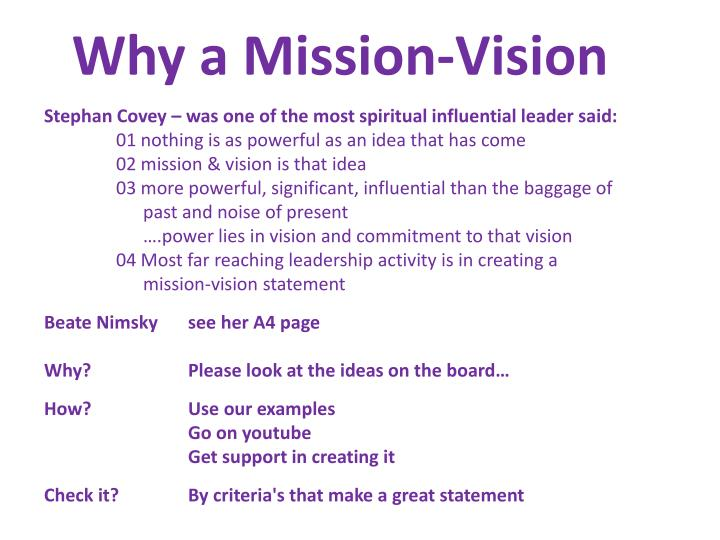 Why a Mission-Vision