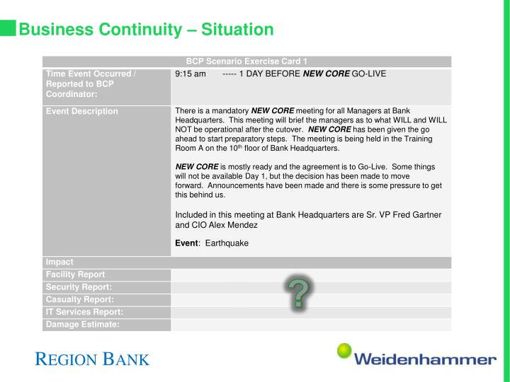 Business Continuity – Situation