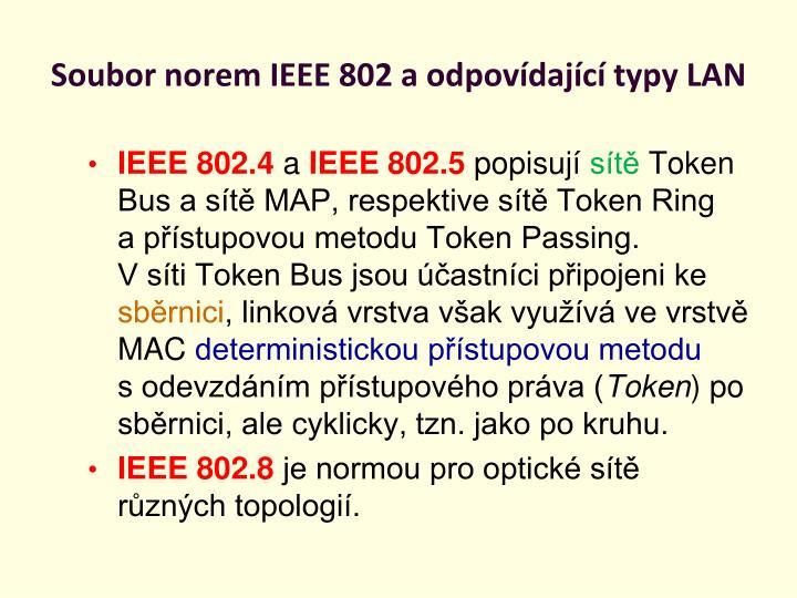 Soubor norem IEEE 802 a odpovídající typy LAN