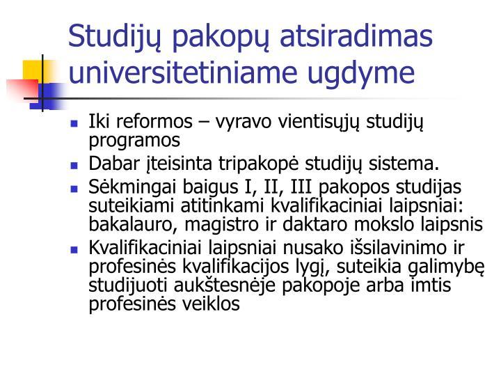 Studijų pakopų atsiradimas universitetiniame ugdyme