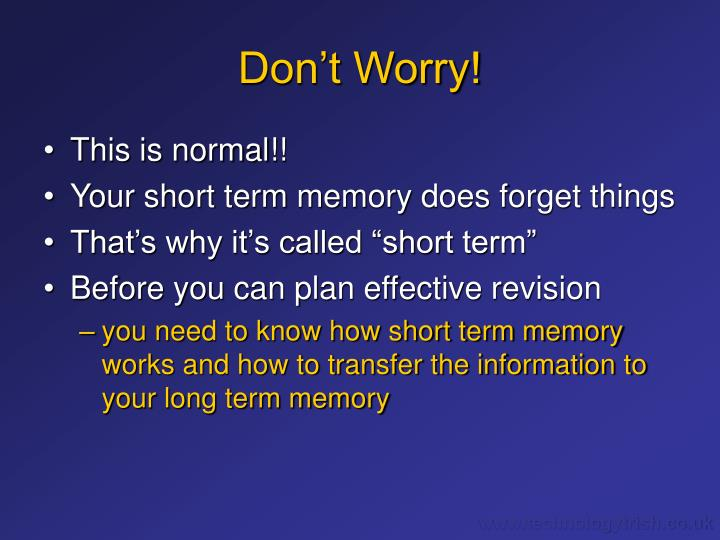 sex and short term memory The sex-induced memory loss even has a name - 'transient global amnesia' - and is thought to be a temporary thing but because it comes on suddenly and causes complete memory loss, it can.