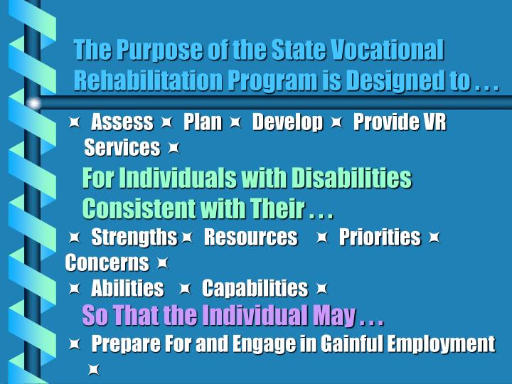 The Purpose of the State Vocational Rehabilitation Program is Designed to . . .