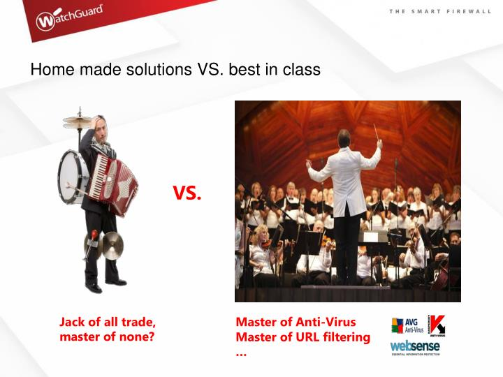 Home made solutions VS. best in class