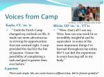 voices from camp